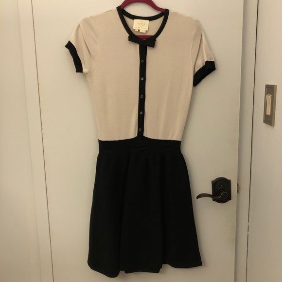 Black and white button up dress with bow